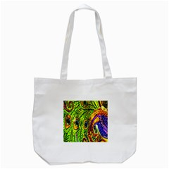 Glass Tile Peacock Feathers Tote Bag (White)