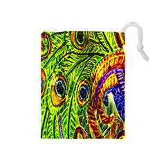 Glass Tile Peacock Feathers Drawstring Pouches (Medium)