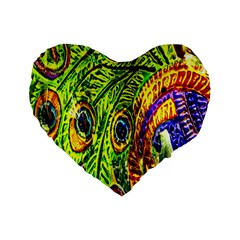 Glass Tile Peacock Feathers Standard 16  Premium Flano Heart Shape Cushions