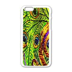 Glass Tile Peacock Feathers Apple iPhone 6/6S White Enamel Case