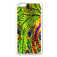 Glass Tile Peacock Feathers Apple iPhone 6 Plus/6S Plus Enamel White Case