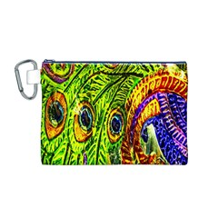 Glass Tile Peacock Feathers Canvas Cosmetic Bag (M)