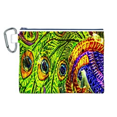 Glass Tile Peacock Feathers Canvas Cosmetic Bag (L)