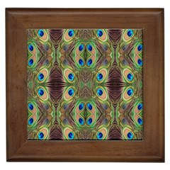 Beautiful Peacock Feathers Seamless Abstract Wallpaper Background Framed Tiles
