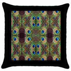 Beautiful Peacock Feathers Seamless Abstract Wallpaper Background Throw Pillow Case (Black)