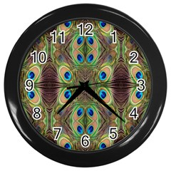 Beautiful Peacock Feathers Seamless Abstract Wallpaper Background Wall Clocks (Black)