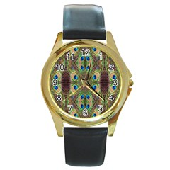 Beautiful Peacock Feathers Seamless Abstract Wallpaper Background Round Gold Metal Watch