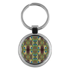 Beautiful Peacock Feathers Seamless Abstract Wallpaper Background Key Chains (Round)