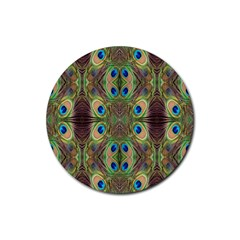 Beautiful Peacock Feathers Seamless Abstract Wallpaper Background Rubber Round Coaster (4 pack)