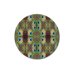Beautiful Peacock Feathers Seamless Abstract Wallpaper Background Magnet 3  (Round)