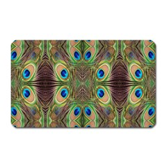 Beautiful Peacock Feathers Seamless Abstract Wallpaper Background Magnet (Rectangular)