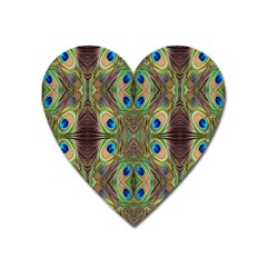 Beautiful Peacock Feathers Seamless Abstract Wallpaper Background Heart Magnet