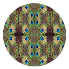 Beautiful Peacock Feathers Seamless Abstract Wallpaper Background Magnet 5  (Round)
