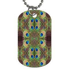 Beautiful Peacock Feathers Seamless Abstract Wallpaper Background Dog Tag (One Side)