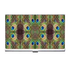 Beautiful Peacock Feathers Seamless Abstract Wallpaper Background Business Card Holders