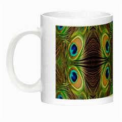 Beautiful Peacock Feathers Seamless Abstract Wallpaper Background Night Luminous Mugs
