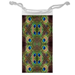 Beautiful Peacock Feathers Seamless Abstract Wallpaper Background Jewelry Bag