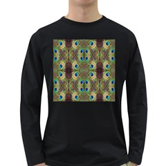Beautiful Peacock Feathers Seamless Abstract Wallpaper Background Long Sleeve Dark T Shirts