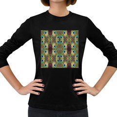 Beautiful Peacock Feathers Seamless Abstract Wallpaper Background Women s Long Sleeve Dark T-Shirts