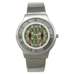 Beautiful Peacock Feathers Seamless Abstract Wallpaper Background Stainless Steel Watch