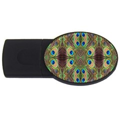 Beautiful Peacock Feathers Seamless Abstract Wallpaper Background USB Flash Drive Oval (4 GB)
