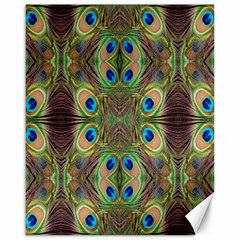 Beautiful Peacock Feathers Seamless Abstract Wallpaper Background Canvas 16  x 20