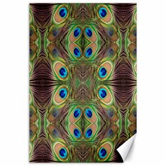 Beautiful Peacock Feathers Seamless Abstract Wallpaper Background Canvas 24  X 36