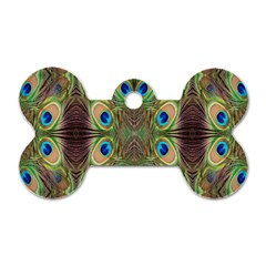 Beautiful Peacock Feathers Seamless Abstract Wallpaper Background Dog Tag Bone (Two Sides)