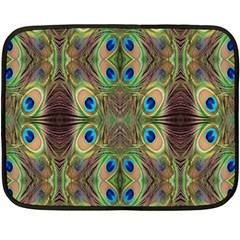 Beautiful Peacock Feathers Seamless Abstract Wallpaper Background Double Sided Fleece Blanket (Mini)