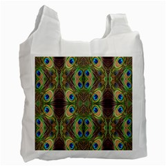 Beautiful Peacock Feathers Seamless Abstract Wallpaper Background Recycle Bag (Two Side)