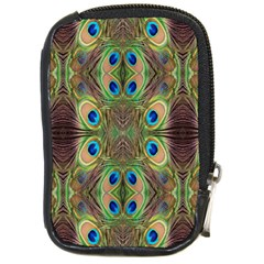 Beautiful Peacock Feathers Seamless Abstract Wallpaper Background Compact Camera Cases