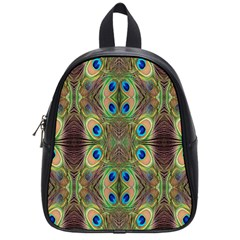 Beautiful Peacock Feathers Seamless Abstract Wallpaper Background School Bags (small)
