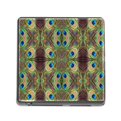 Beautiful Peacock Feathers Seamless Abstract Wallpaper Background Memory Card Reader (Square)