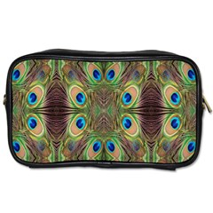 Beautiful Peacock Feathers Seamless Abstract Wallpaper Background Toiletries Bags 2-Side