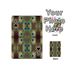 Beautiful Peacock Feathers Seamless Abstract Wallpaper Background Playing Cards 54 (mini)