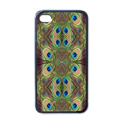 Beautiful Peacock Feathers Seamless Abstract Wallpaper Background Apple Iphone 4 Case (black)