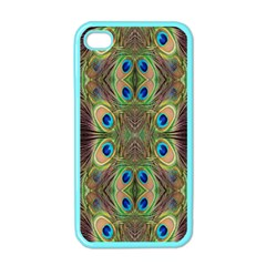 Beautiful Peacock Feathers Seamless Abstract Wallpaper Background Apple iPhone 4 Case (Color)