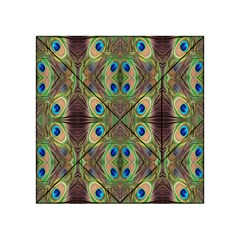 Beautiful Peacock Feathers Seamless Abstract Wallpaper Background Acrylic Tangram Puzzle (4  X 4 )