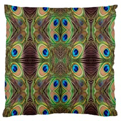 Beautiful Peacock Feathers Seamless Abstract Wallpaper Background Large Cushion Case (Two Sides)