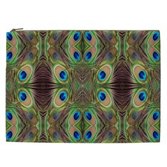 Beautiful Peacock Feathers Seamless Abstract Wallpaper Background Cosmetic Bag (XXL)