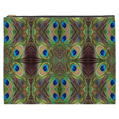 Beautiful Peacock Feathers Seamless Abstract Wallpaper Background Cosmetic Bag (xxxl)