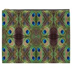 Beautiful Peacock Feathers Seamless Abstract Wallpaper Background Cosmetic Bag (XXXL)  Front