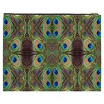 Beautiful Peacock Feathers Seamless Abstract Wallpaper Background Cosmetic Bag (XXXL)  Back