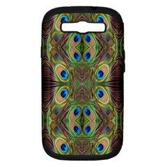 Beautiful Peacock Feathers Seamless Abstract Wallpaper Background Samsung Galaxy S III Hardshell Case (PC+Silicone)