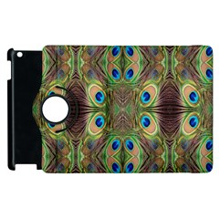 Beautiful Peacock Feathers Seamless Abstract Wallpaper Background Apple Ipad 3/4 Flip 360 Case