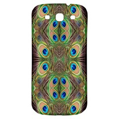 Beautiful Peacock Feathers Seamless Abstract Wallpaper Background Samsung Galaxy S3 S III Classic Hardshell Back Case
