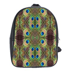 Beautiful Peacock Feathers Seamless Abstract Wallpaper Background School Bags (XL)
