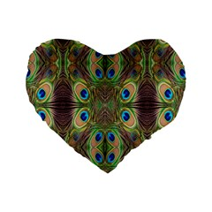 Beautiful Peacock Feathers Seamless Abstract Wallpaper Background Standard 16  Premium Heart Shape Cushions