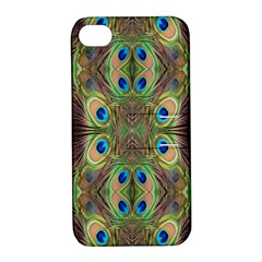 Beautiful Peacock Feathers Seamless Abstract Wallpaper Background Apple iPhone 4/4S Hardshell Case with Stand