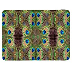 Beautiful Peacock Feathers Seamless Abstract Wallpaper Background Samsung Galaxy Tab 7  P1000 Flip Case